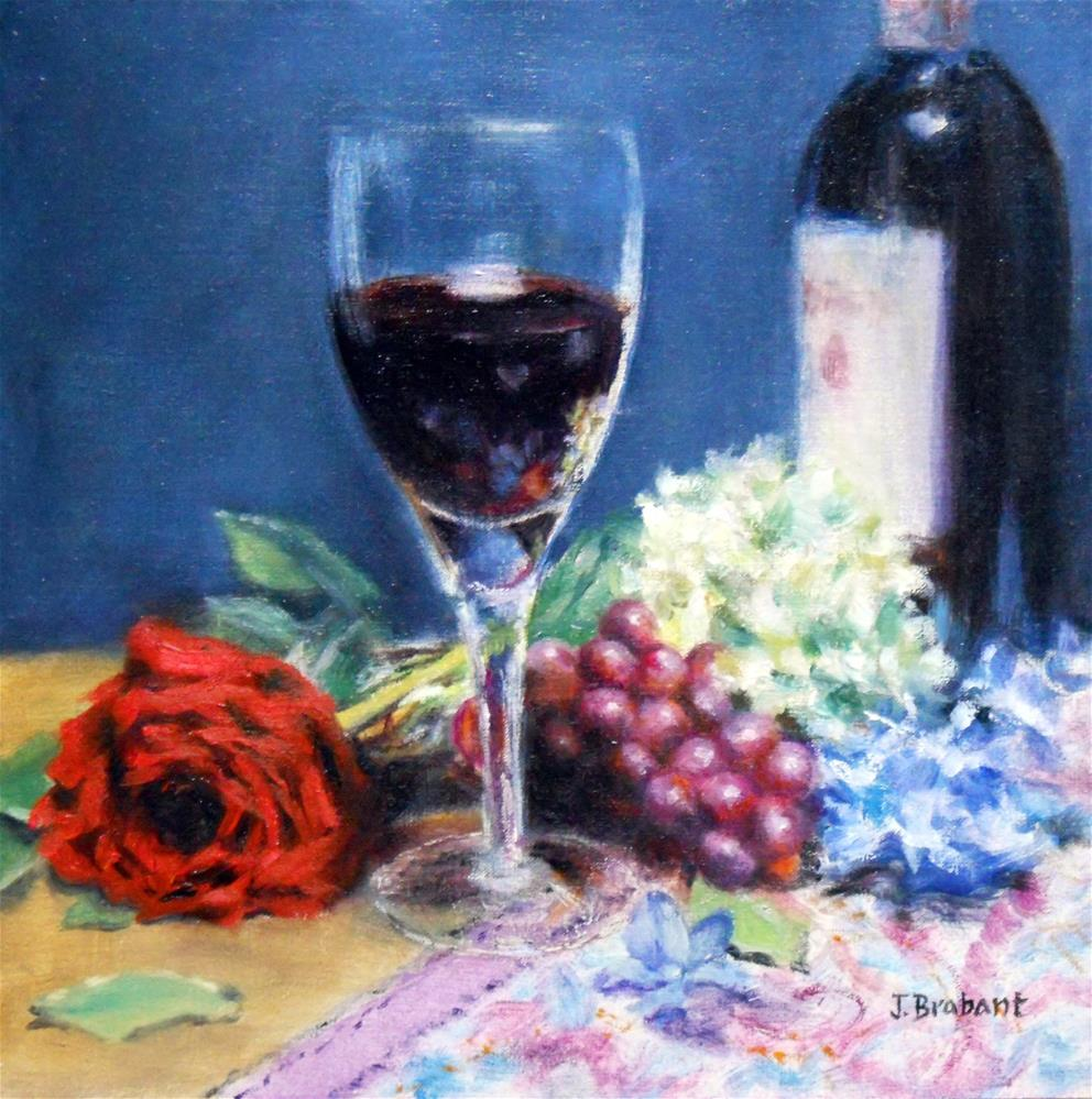 """Cabernet and Blooms"" original fine art by Jill Brabant"