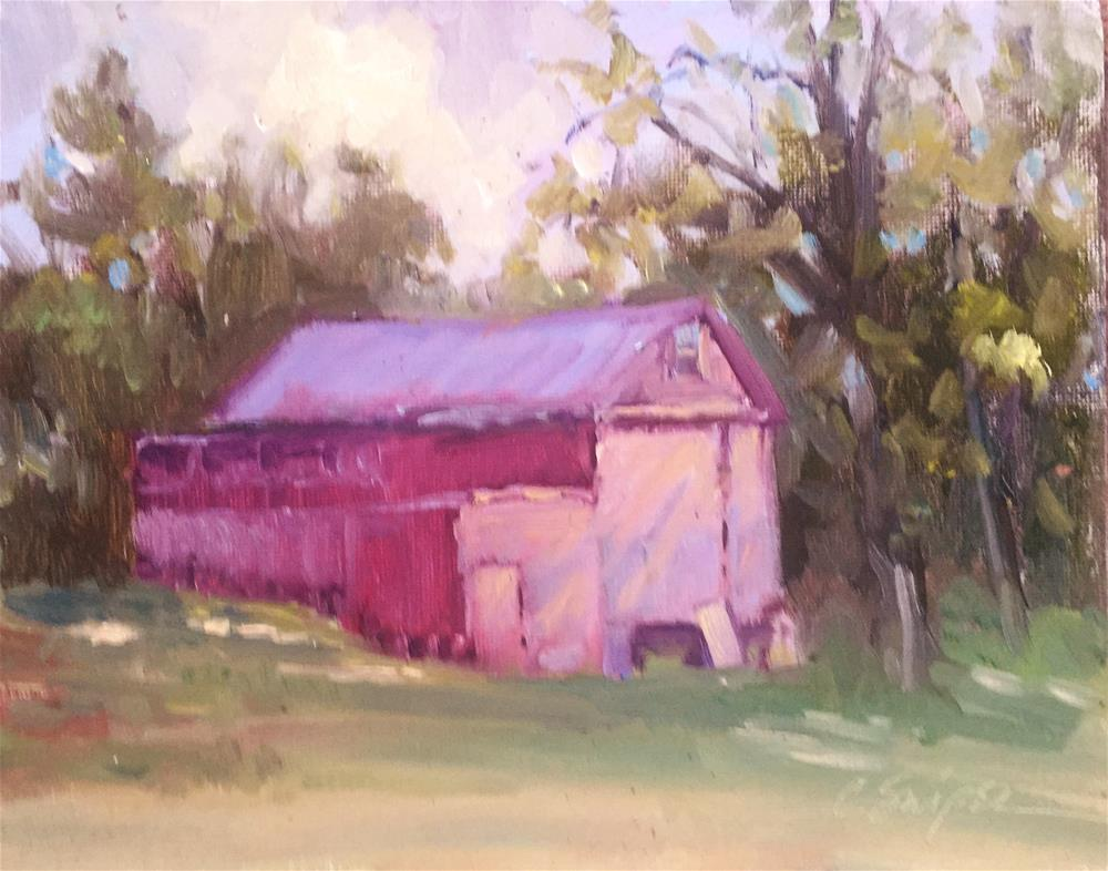"""Red Barn in the Sunlight"" original fine art by Connie Snipes"