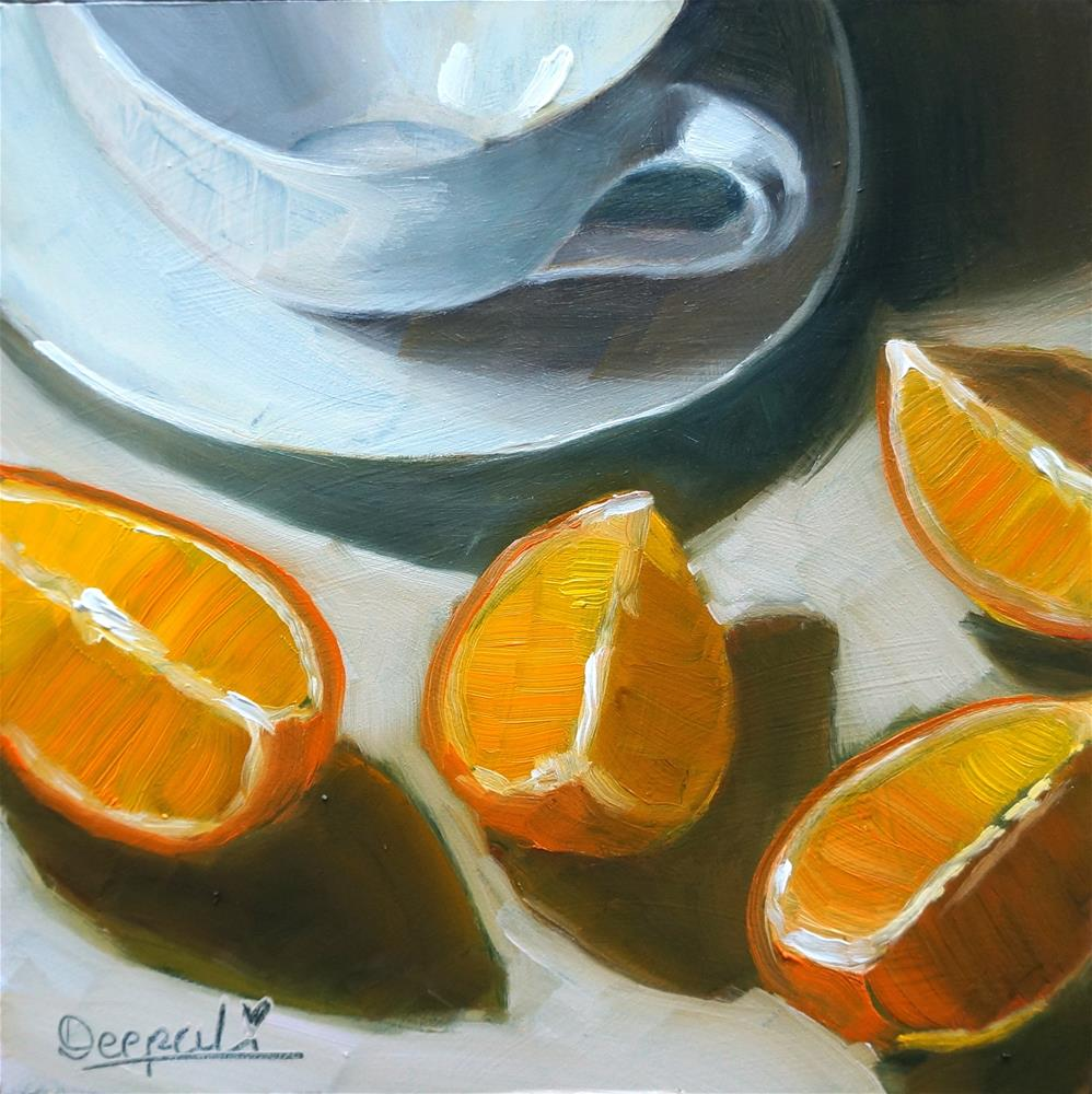 """Cup with orange slices"" original fine art by Dipali Rabadiya"