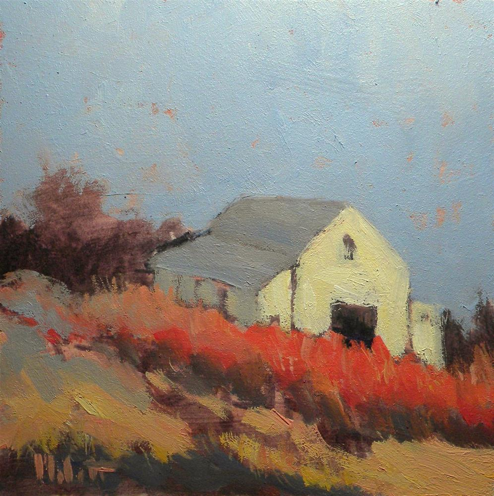 """White Barn Autumn Landscape Oil Painting"" original fine art by Heidi Malott"