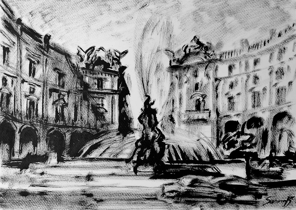 """Rome. Fountaine"" original fine art by Elena Senina"