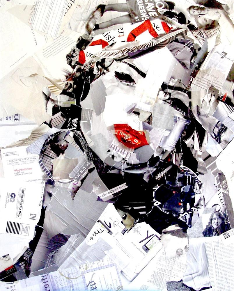"""Femme Fatale, Collage on Canvas, Portrait of Woman"" original fine art by Carmen Beecher"