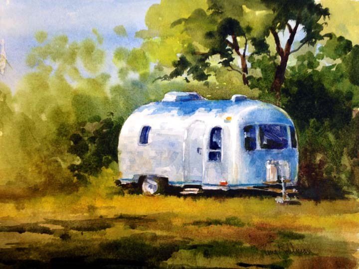 """Classic Camper - Airstream"" original fine art by Tina Bohlman"
