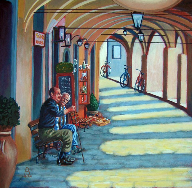 """Town square, Greve in Chianti, Italy"" original fine art by Alix Baker"