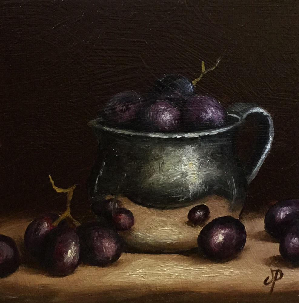 """Grapes in silver cup"" original fine art by Jane Palmer"