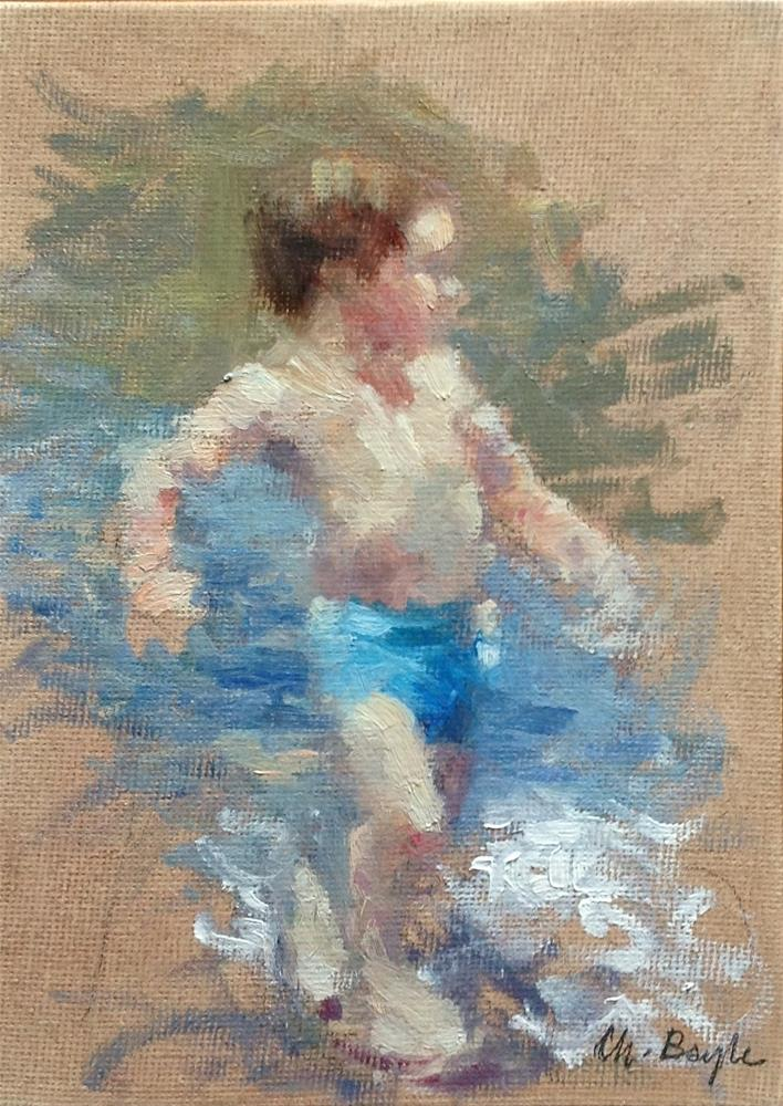 """A walk in the sea"" original fine art by Christine Bayle"