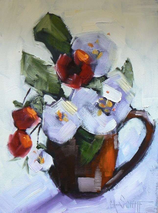 """Small Floral Still Life, Red and White Flowers, 6x8 daily painting"" original fine art by Carol Schiff"