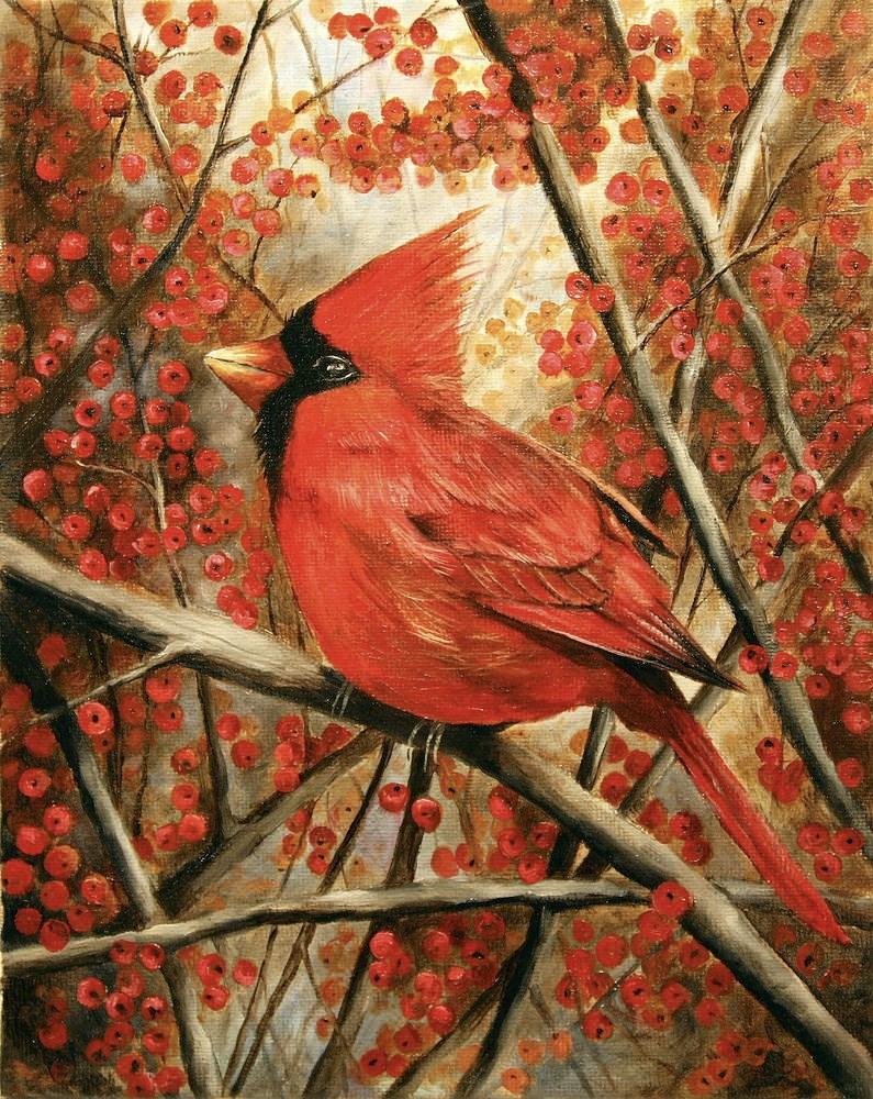 """Cardinal"" original fine art by Aaron Grabiak"