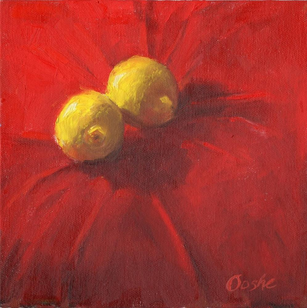 """Lemons on Red"" original fine art by Angela Ooghe"