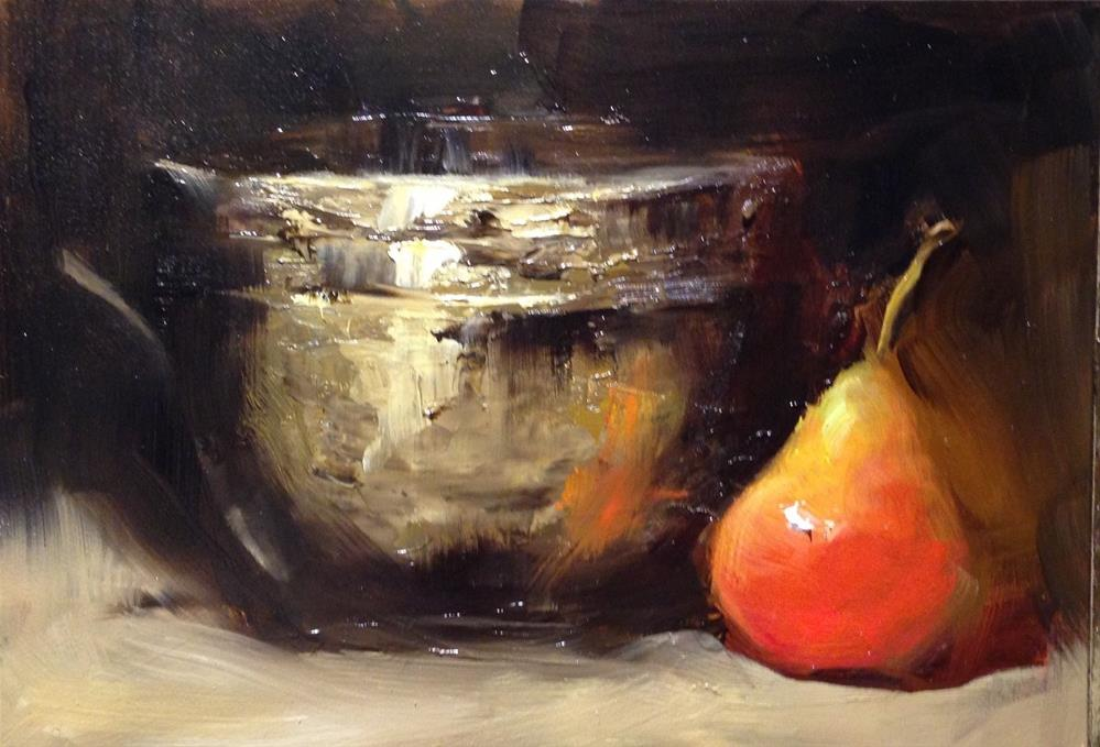"""Old Brass and a Pear"" original fine art by Dorothy Woolbright"
