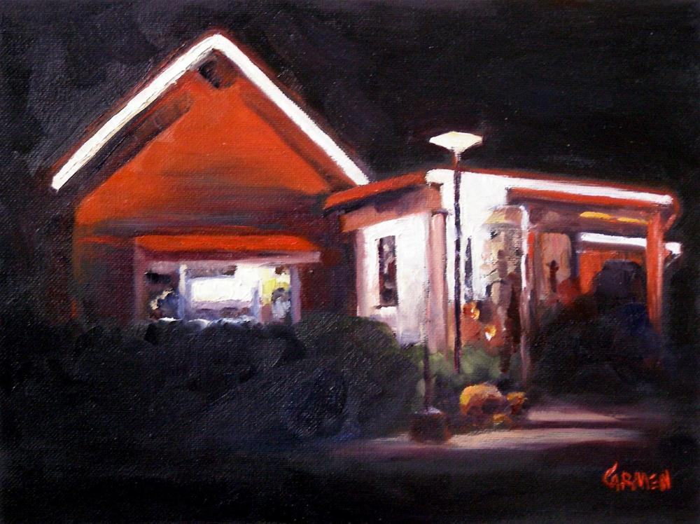 """Nighttime at the Loveless Cafe, 8x6 Oil on Canvas Board"" original fine art by Carmen Beecher"