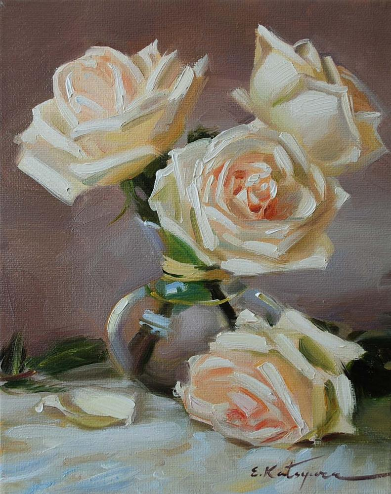 """White Roses II"" original fine art by Elena Katsyura"