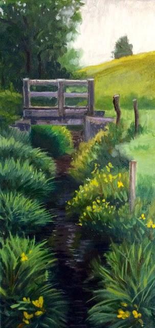 """The bridge to unknown pastures"" original fine art by Hilary J. England"
