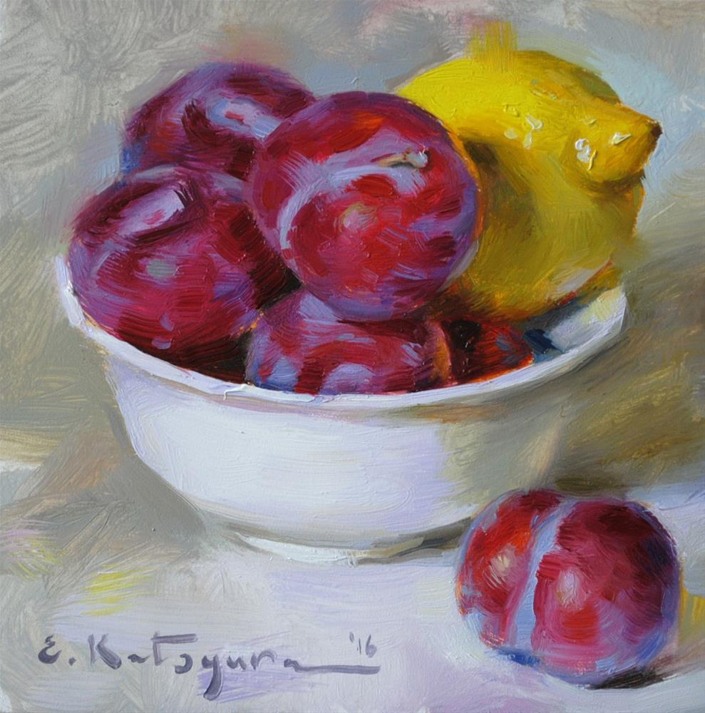 """Summer Fruit Bowl"" original fine art by Elena Katsyura"