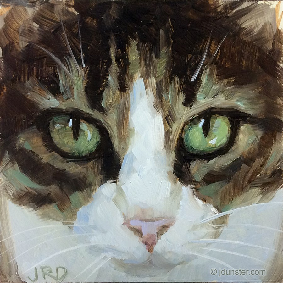 """Close-up (Cat Head)"" original fine art by J. Dunster"