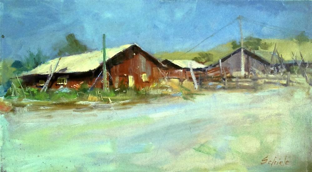 """red barn"" original fine art by Richard Schiele"