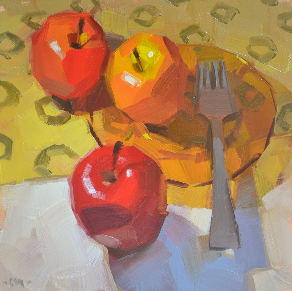 """Three Different Apples"" original fine art by Carol Marine"