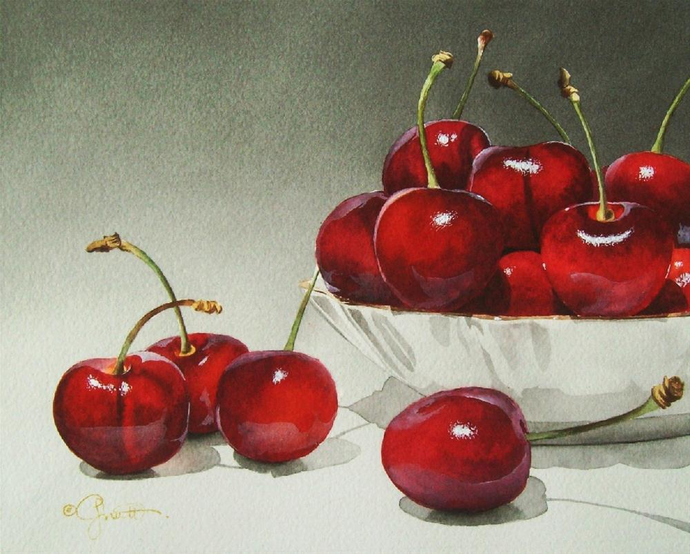 """Porcelain Bowl with Cherries"" original fine art by Jacqueline Gnott, whs"