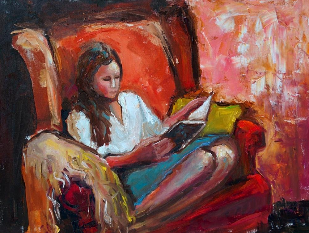 """Olivia with a Book "" original fine art by pepa sand"