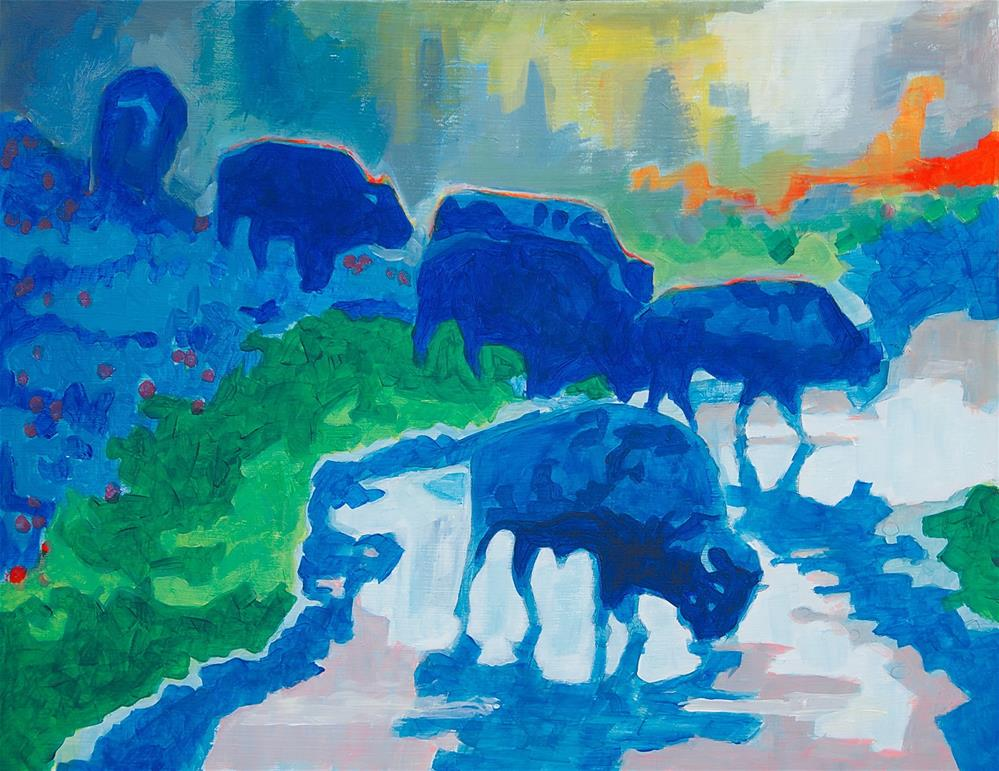 """Bison Art Blue Bison Crossing Yosemite Creek painting Bertram Poole"" original fine art by Bertram Poole"
