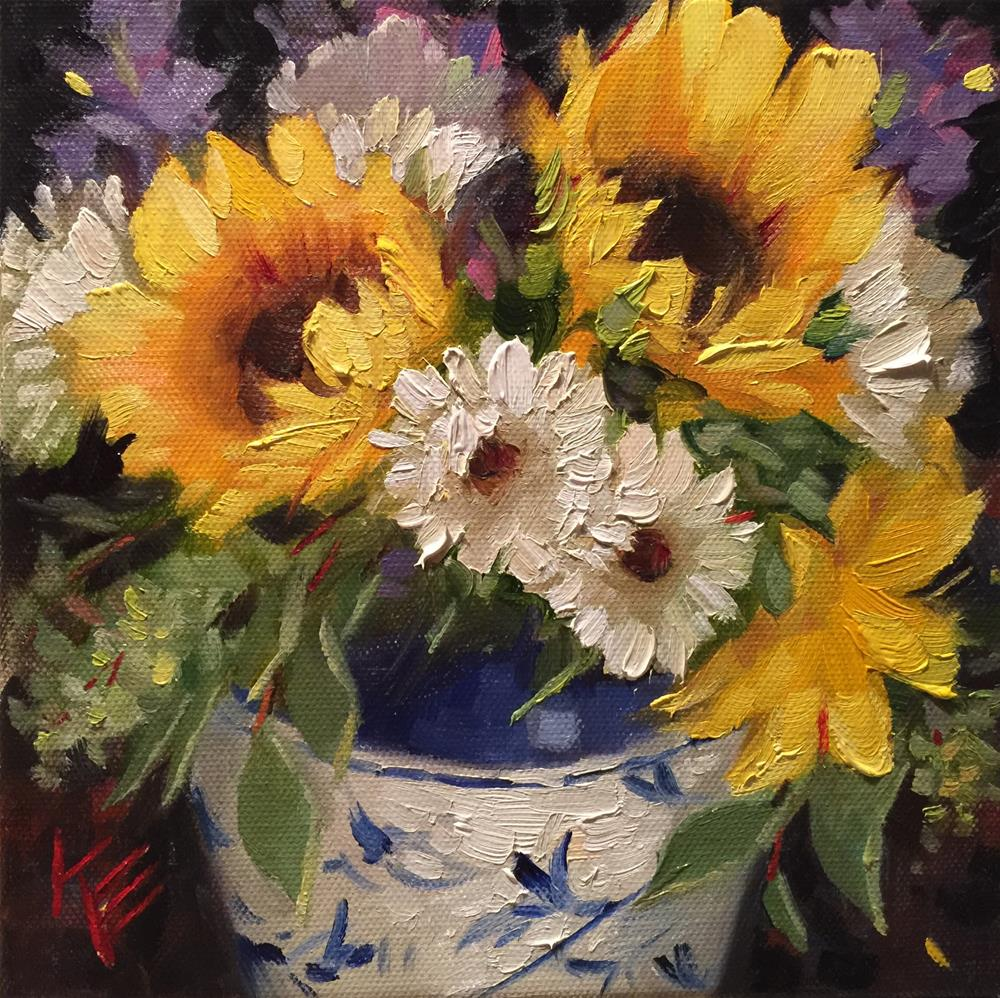 """Sunflowers in Blue & White pot"" original fine art by Krista Eaton"