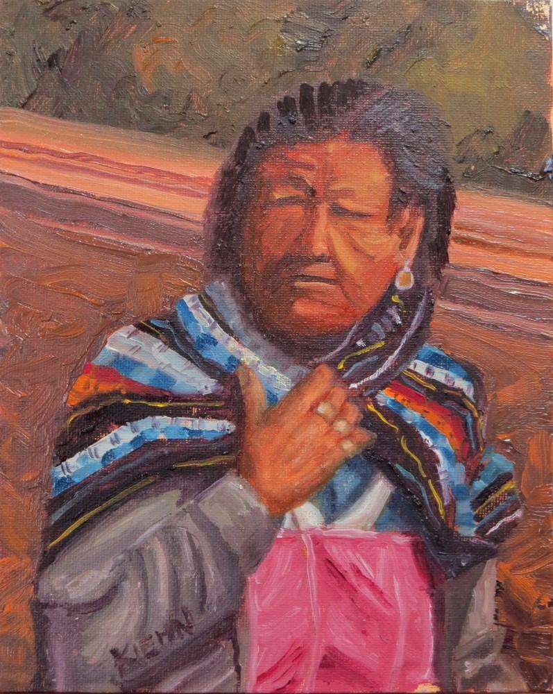 """Weathered Woman in Traditional Dress"" original fine art by Richard Kiehn"