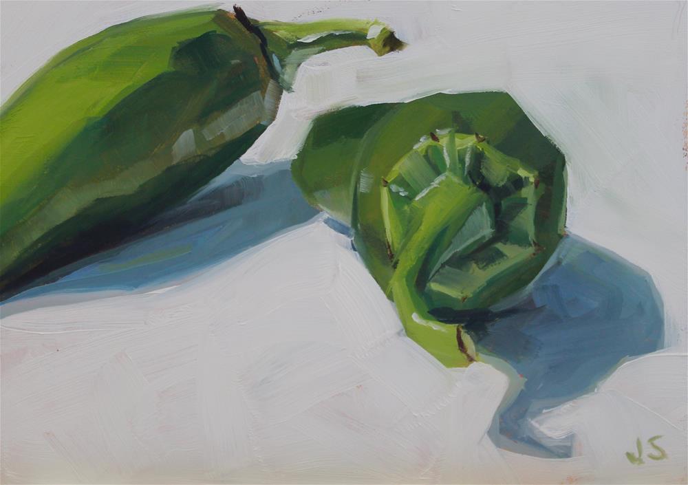 """""""Two Jalepenos"""" original fine art by Jamie Stevens"""