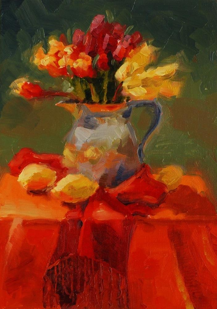 """No. 421 Tulips in Plein Air"" original fine art by Susan McManamen"