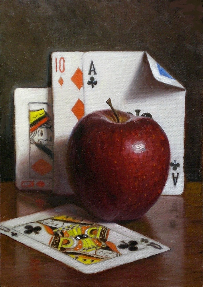 """""""Apple with Playing Cards"""" original fine art by Debra Becks Cooper"""