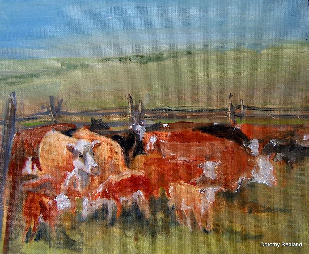 """Branding corral"" original fine art by Dorothy Redland"