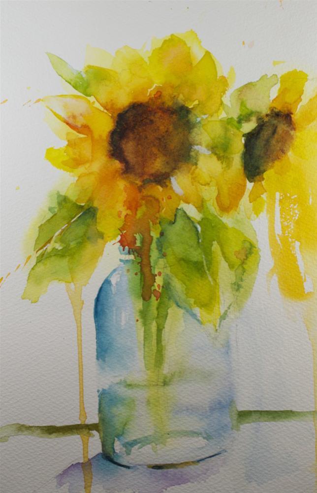 """Sunflower Study"" original fine art by Sue Churchgrant"