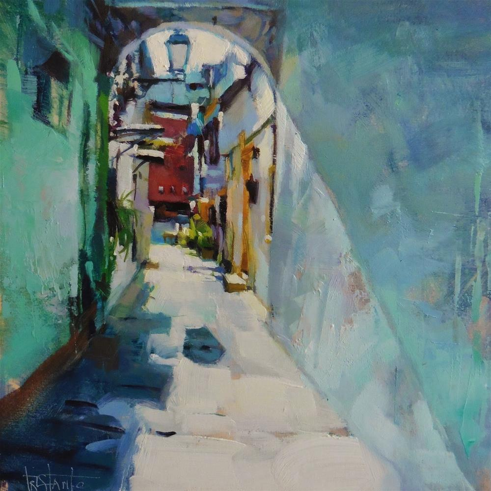 """Lighted alley"" original fine art by Víctor Tristante"