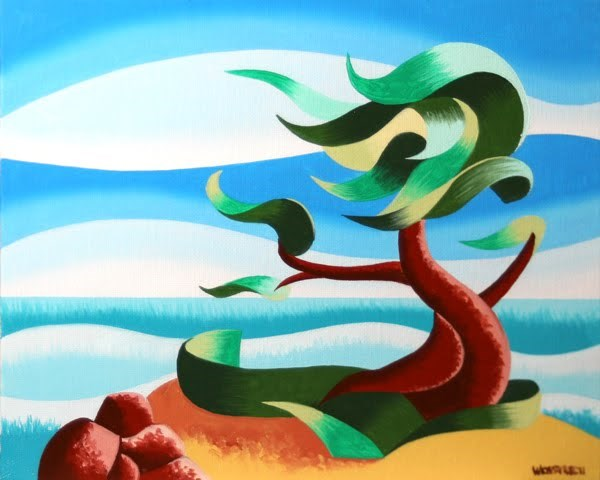 """Mark Webster - Abstract Geometric Landscape Oil Painting - Cypress Tree Seascape #3"" original fine art by Mark Webster"