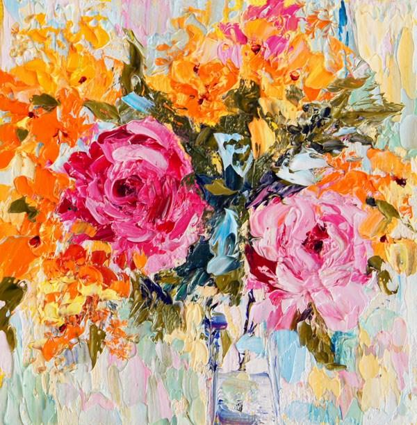 """Rose Flower Arrangement No.4, Miniature treasure palette knife painting"" original fine art by Marion Hedger"