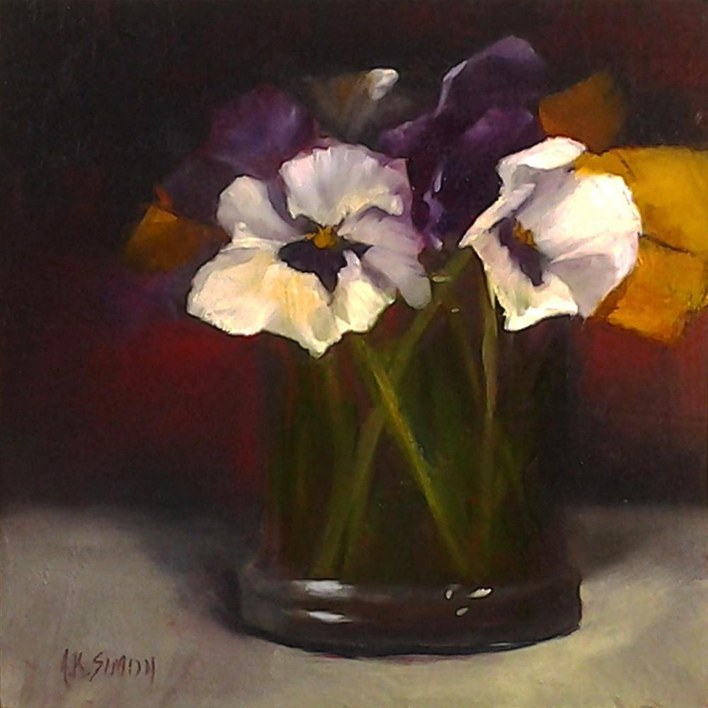 """Clearly Pansies"" original fine art by A.K. Simon"