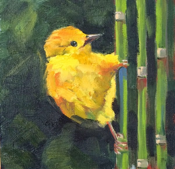 """Yellow Bird"" original fine art by Deborah Newman"