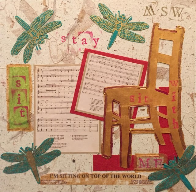 """Sitting on Top of the World 8x8 paper, paint and ink stamp collage"" original fine art by Mary Sheehan Winn"