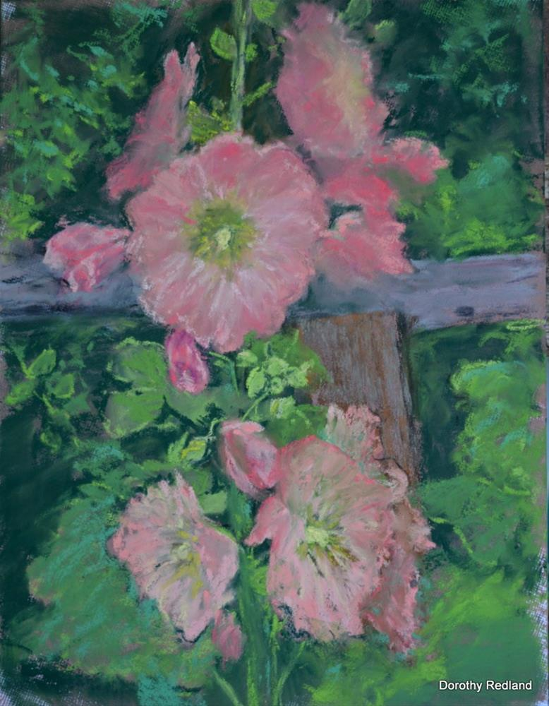 """HOLLYHOCKS"" original fine art by Dorothy Redland"