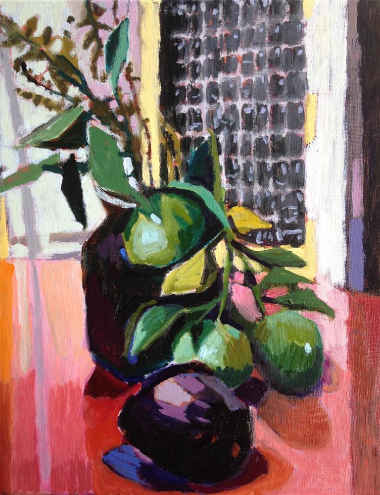 """""""Orange, Mint, Avacado- Take Two"""" original fine art by Pamela Hoffmeister"""