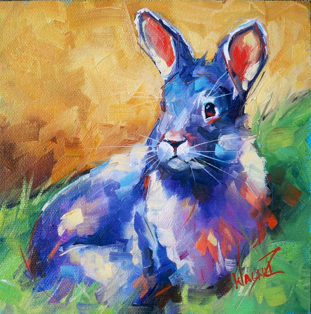 """COLORFUL BUNNY RABBIT by OLGA WAGNER"" original fine art by Olga Wagner"