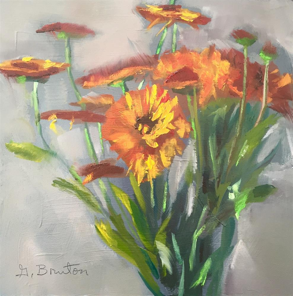 """Orange Flowers"" original fine art by Gary Bruton"