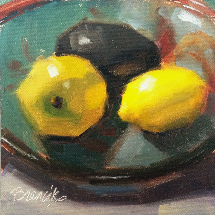 """Fruit in a Ceramic Bowl"" original fine art by Candace Brancik"