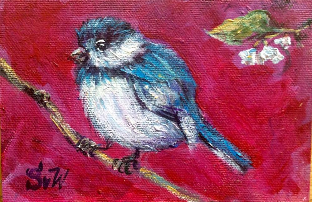 """Little blue bird painting"" original fine art by Sonia von Walter"