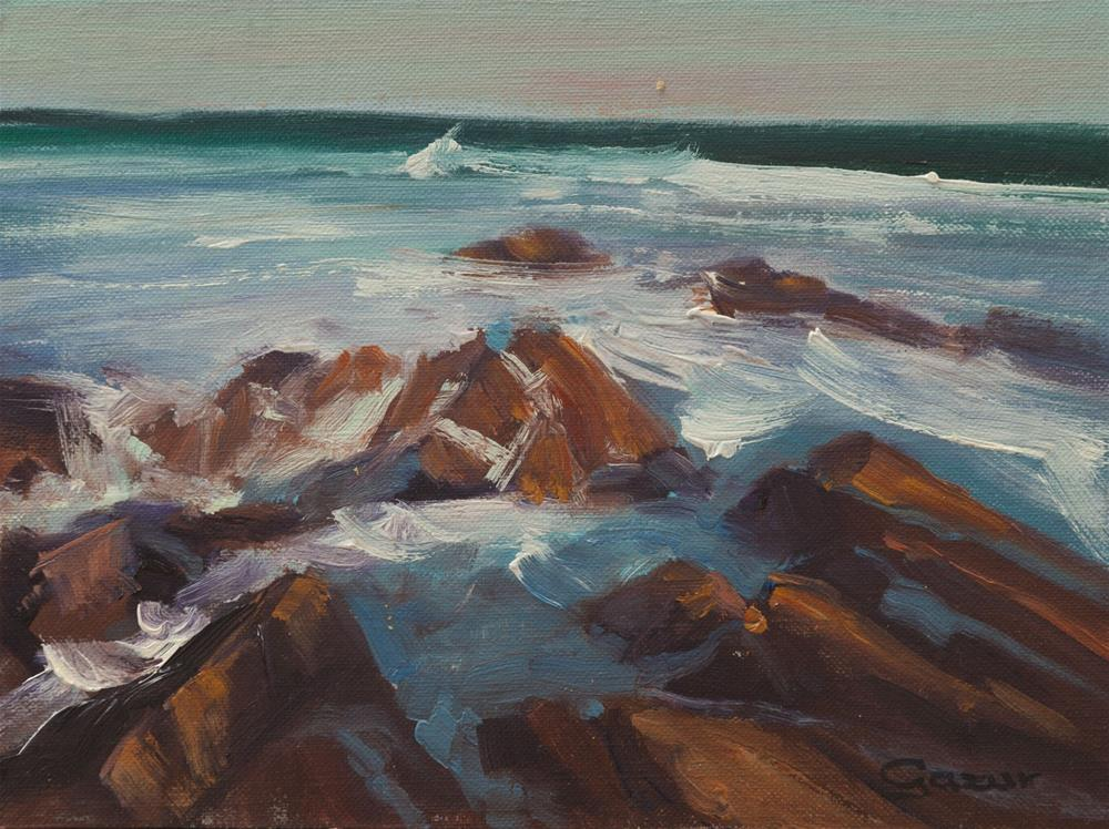 """South Point Asilomar Beach 6x8"" original fine art by Pavel Gazur"