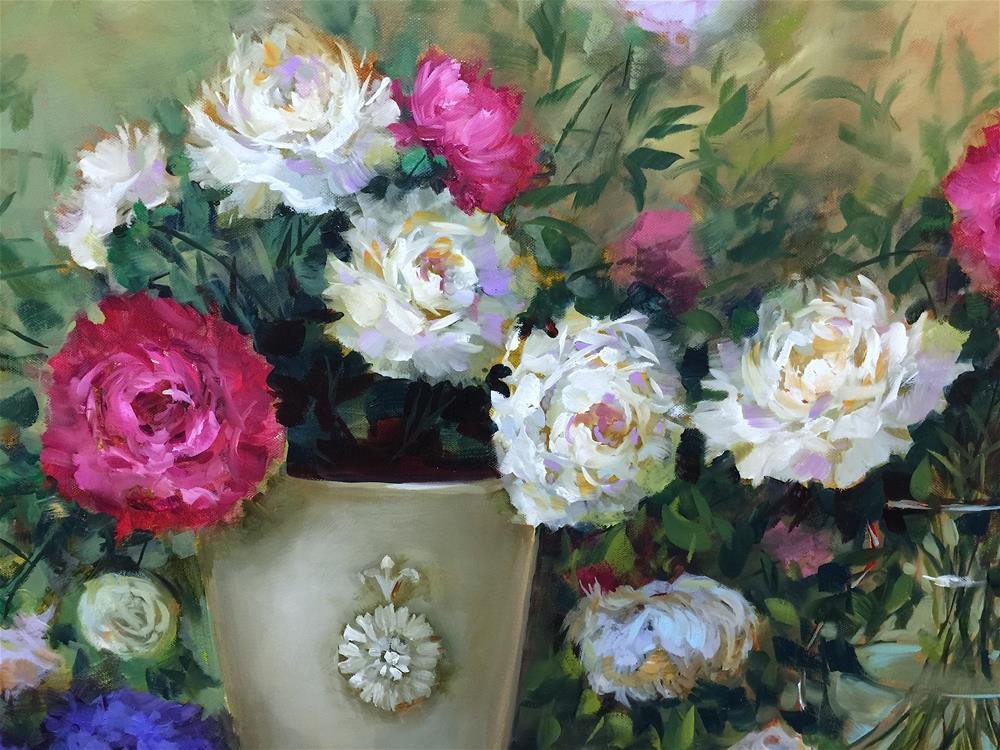 """Little Bird Peony Garden - Nancy Medina Art Videos and Classes"" original fine art by Nancy Medina"