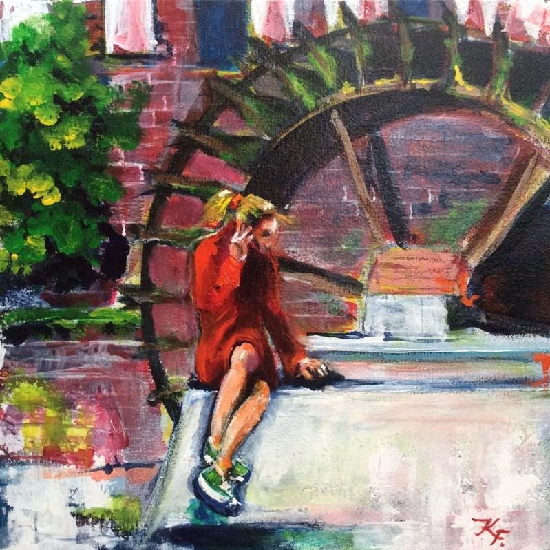 """""""Lady in red 2"""" original fine art by Klaudia Frieda"""