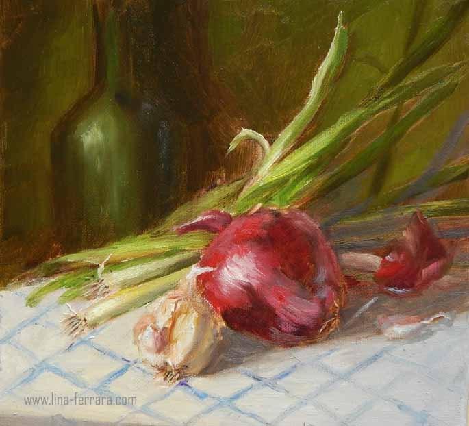 """Garlic and Onions"" original fine art by Lina Ferrara"
