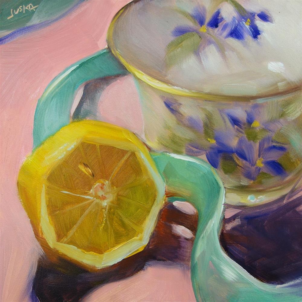 """Teacup & Teal Ribbon"" original fine art by Elaine Juska Joseph"