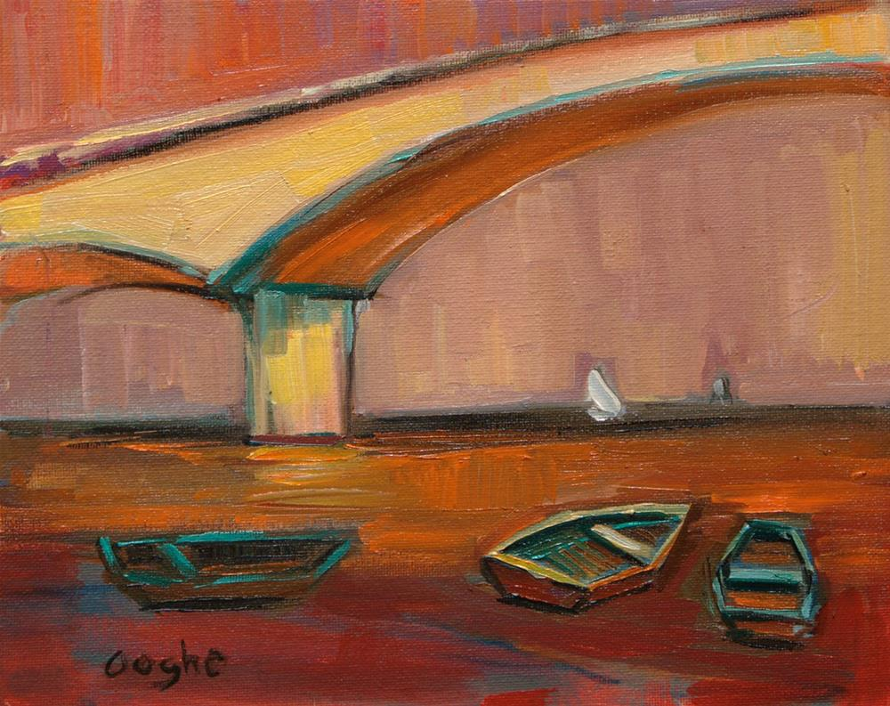"""Bridge at Sunset"" original fine art by Angela Ooghe"