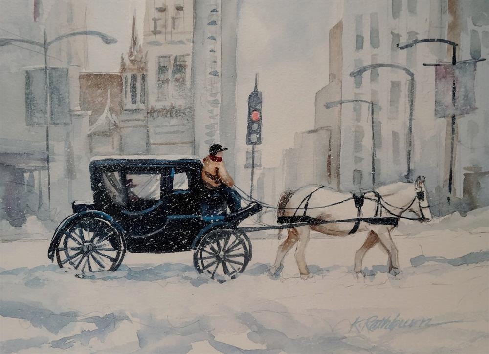 """Buggy Time Chicago - Winter"" original fine art by Kathy Los-Rathburn"
